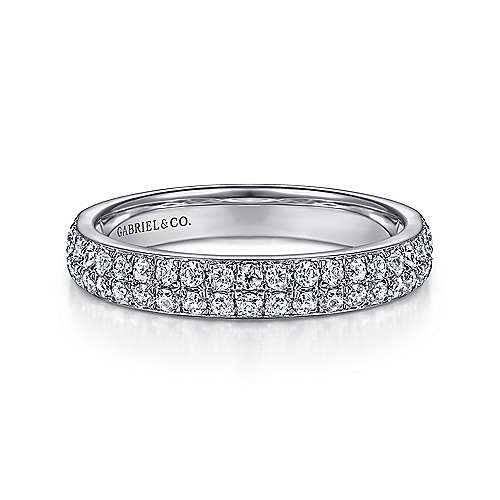 14k White Gold Two Row Micro Pavé Band