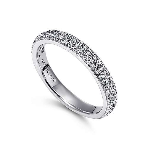 14k White Gold Two Row Micro Pavé Channel Set Band