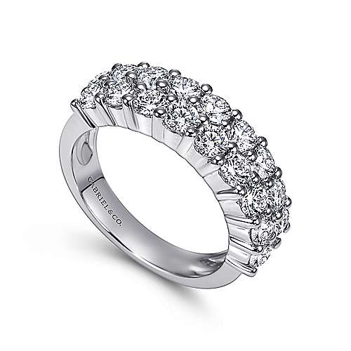 14k White Gold Two Row Prong Set Anniversary Band