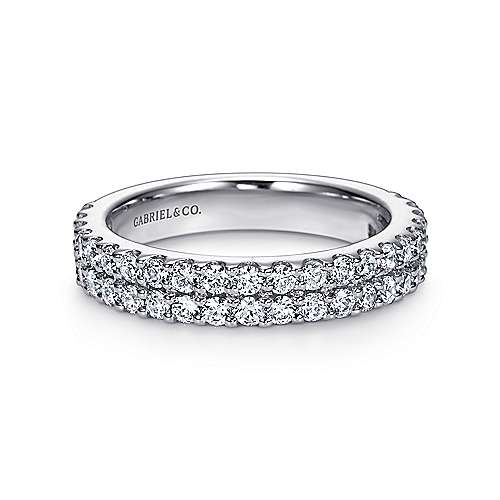 Gabriel - 14k White Gold Two Row Shared Prong Band
