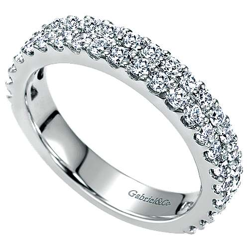 14k White Gold Two Row Shared Prong Band