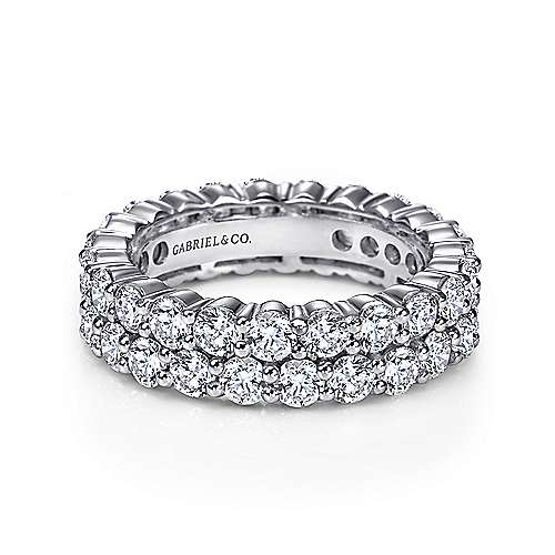 Gabriel - 14k White Gold Two Row Shared Prong Eternity Band