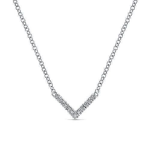 Gabriel - 14k White Gold V Shaped Diamond Bar Necklace
