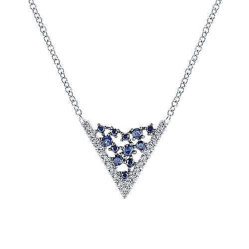 Gabriel - 14k White Gold V Shaped Diamond Sapphire Constellation Necklacae