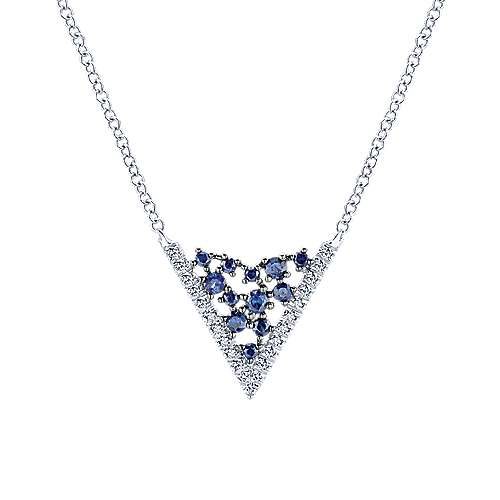 Gabriel - 14k White Gold V Shaped Diamond Sapphire Constellation Necklace