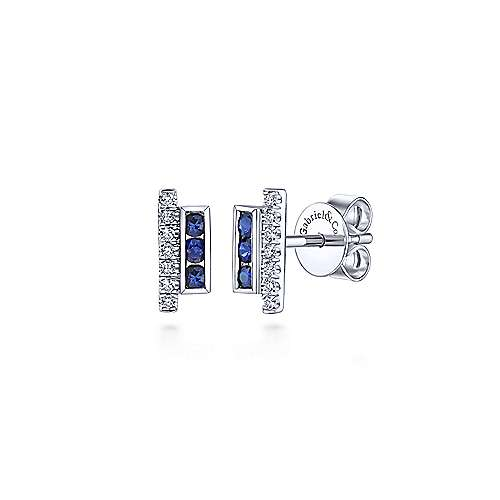 e9e8bed18 14k White Gold Vertical Bar Diamond & Sapphire Stud Earrings ...
