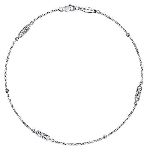 14k White Gold Victorian Chain Ankle Bracelet angle 1