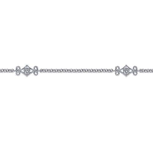 14k White Gold Victorian Chain Ankle Bracelet angle 2