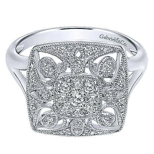 Gabriel - 14k White Gold Victorian Classic Ladies' Ring