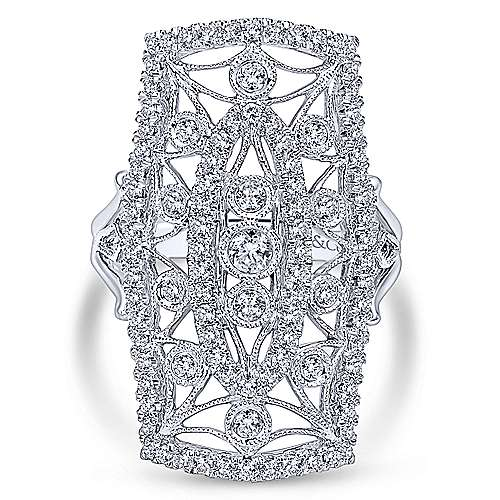 Gabriel - 14k White Gold Victorian Classic Ladies' Ring