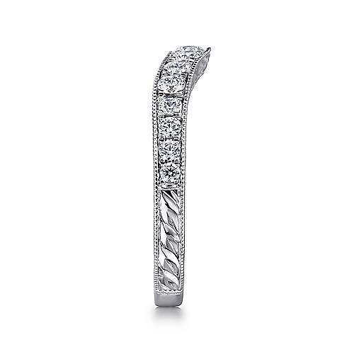 14k White Gold Victorian Curved Anniversary Band angle 4