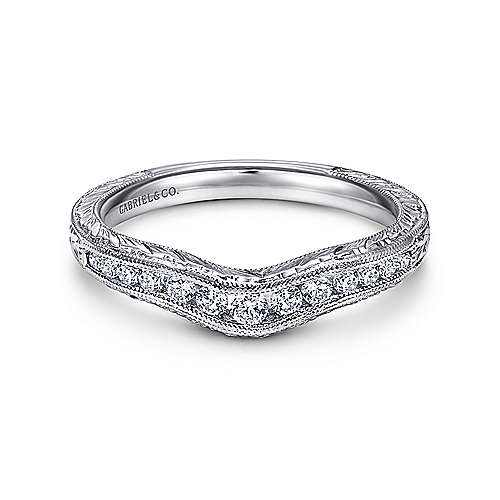 14k White Gold Victorian Curved Anniversary Band angle 1