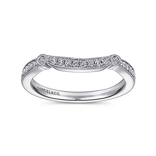 14k White Gold Victorian Curved Wedding Band angle 5