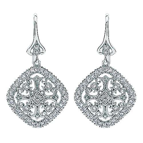 Gabriel - 14k White Gold Victorian Drop Earrings