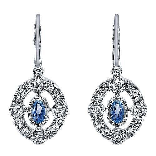 Gabriel - 14k White Gold Victorian Drop Earrings