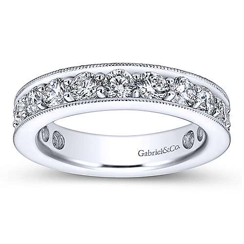 14k White Gold Victorian Eternity Anniversary Band angle 5