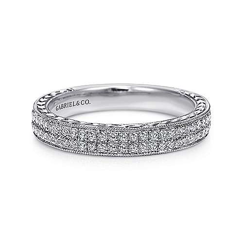 Gabriel - 14k White Gold Victorian Fancy Anniversary Band