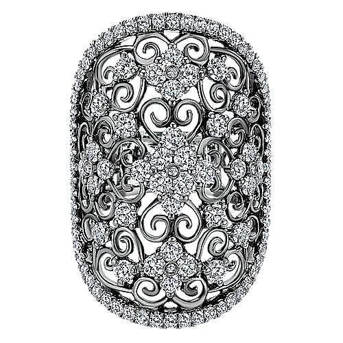 14k White Gold Victorian Fashion Ladies Ring
