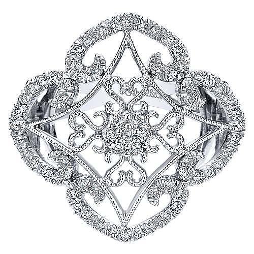 14k White Gold Victorian Fashion Ladies' Ring angle 1