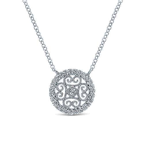 Gabriel - 14k White Gold Victorian Fashion Necklace