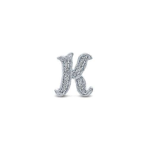 14k White Gold Victorian Initial Pendant