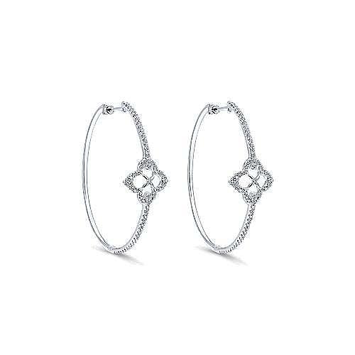 14k White Gold Victorian Intricate Hoop Earrings