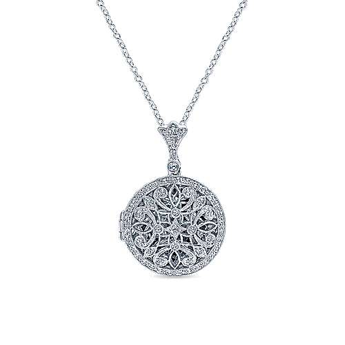 Gabriel - 14k White Gold Victorian Locket Necklace