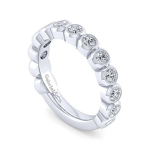 14k White Gold Victorian Stackable Ladies Ring