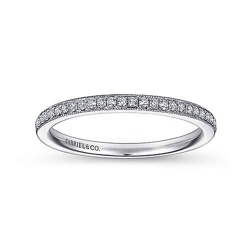 14k White Gold Victorian Straight Wedding Band angle 5