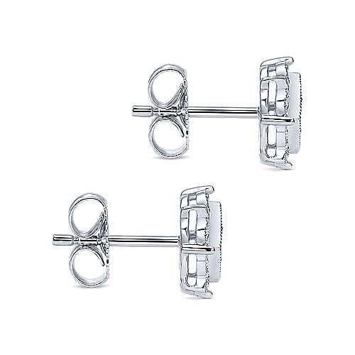 14k White Gold Victorian Stud Earrings angle 3