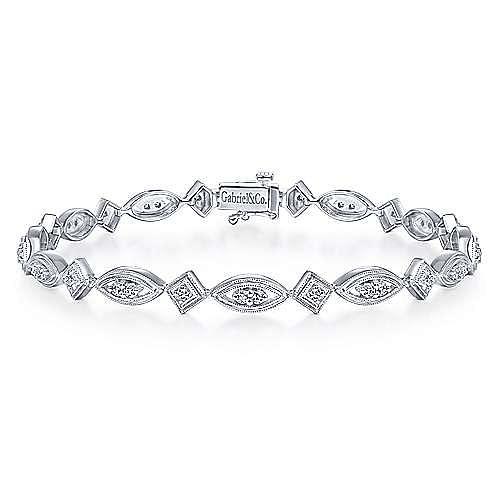 Gabriel - 14k White Gold Victorian Tennis Bracelet