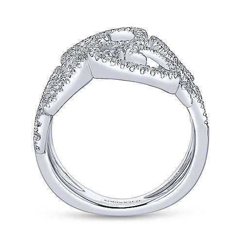 14k White Gold Victorian Twisted Ladies' Ring angle 2