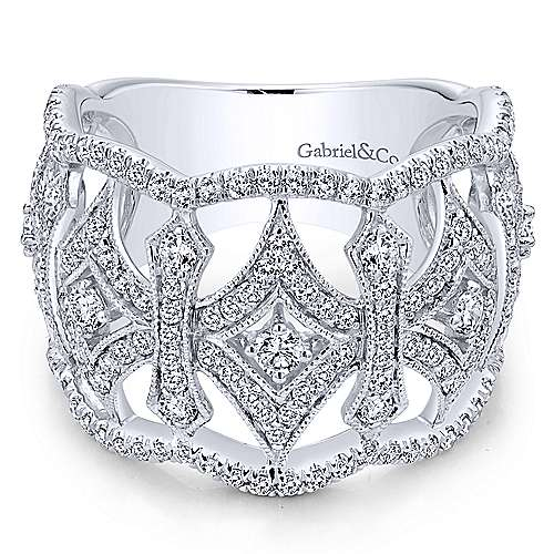 Gabriel - 14k White Gold Victorian Wide Band Ladies' Ring