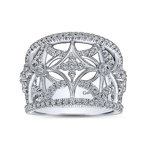 14k White Gold Victorian Wide Band Ladies' Ring angle 4