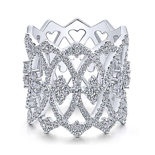Gabriel - 14k White Gold Victorian Wide Band Ladies Ring