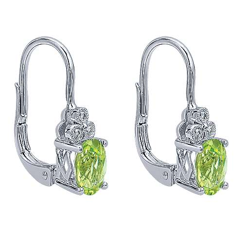 14k White Gold Vintage Inspired Diamond & Oval Peridot Drop Earrings
