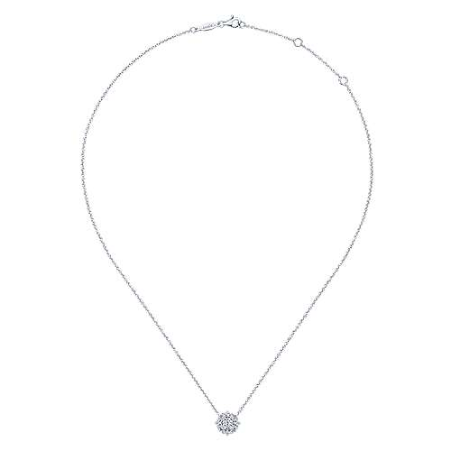 14k White Gold Vintage Inspired Diamond Cluster Necklace