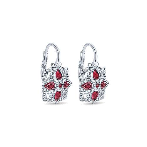 14k White Gold Vintage Inspired Diamond and Ruby Drop Earrings