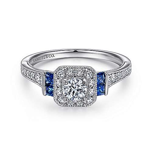 14k White Gold Vintage Inspired Round 3 Stone Sapphire Halo Engagement Ring