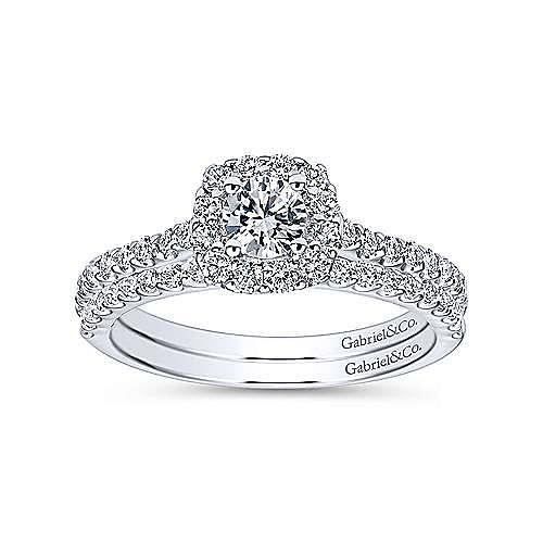 14k White Gold Vintage Inspired Round Halo Engagement Ring