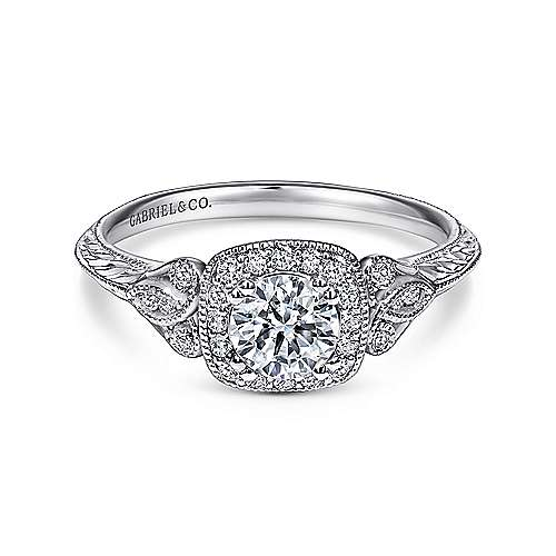 14k White Gold Vintage Inspired Round Halo Engagement Ring