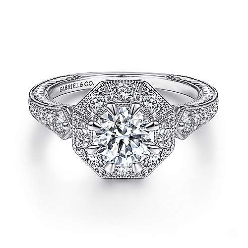Gabriel - 14k White Gold Vintage Inspired Round Octagonal Halo Engagement Ring