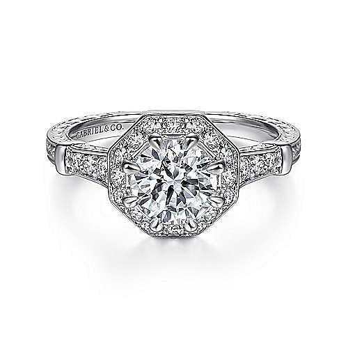 Gabriel - 14k White Gold Vintage Inspired Round Octagonal Halo Engagement Ring