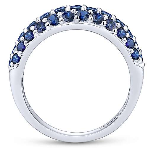 14k White Gold Wide Band Sapphire Ladies Ring