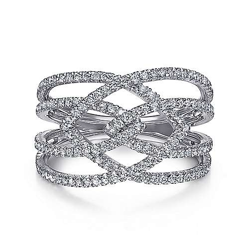 Gabriel - 14k White Gold Wide Four Band Ladies Ring