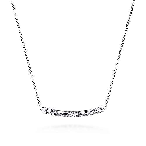 Gabriel - 14k White Gold Wide Lusso Bar Necklace