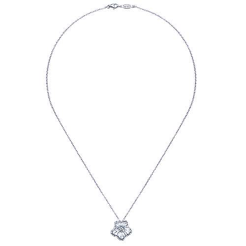 14k White Gold Wire Fashion Necklace angle 2