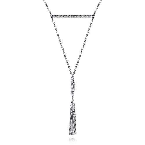 14k White Gold Y Knot Pave Diamond Bar Necklace