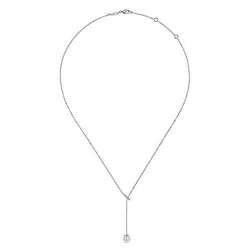14k White Gold Y Knots Cultured Pearl & Diamond Necklace