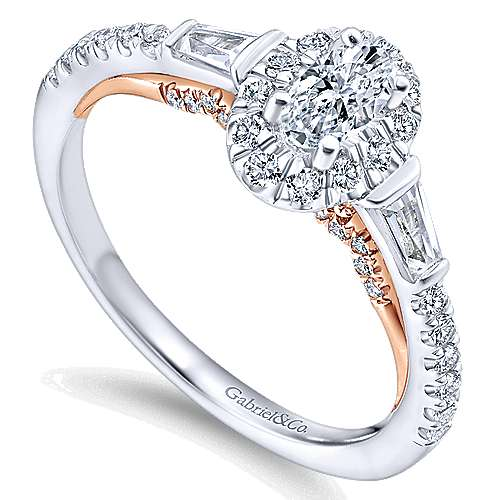 14k White-Rose Gold Oval Halo Three Stone Complete Diamond Engagement Ring